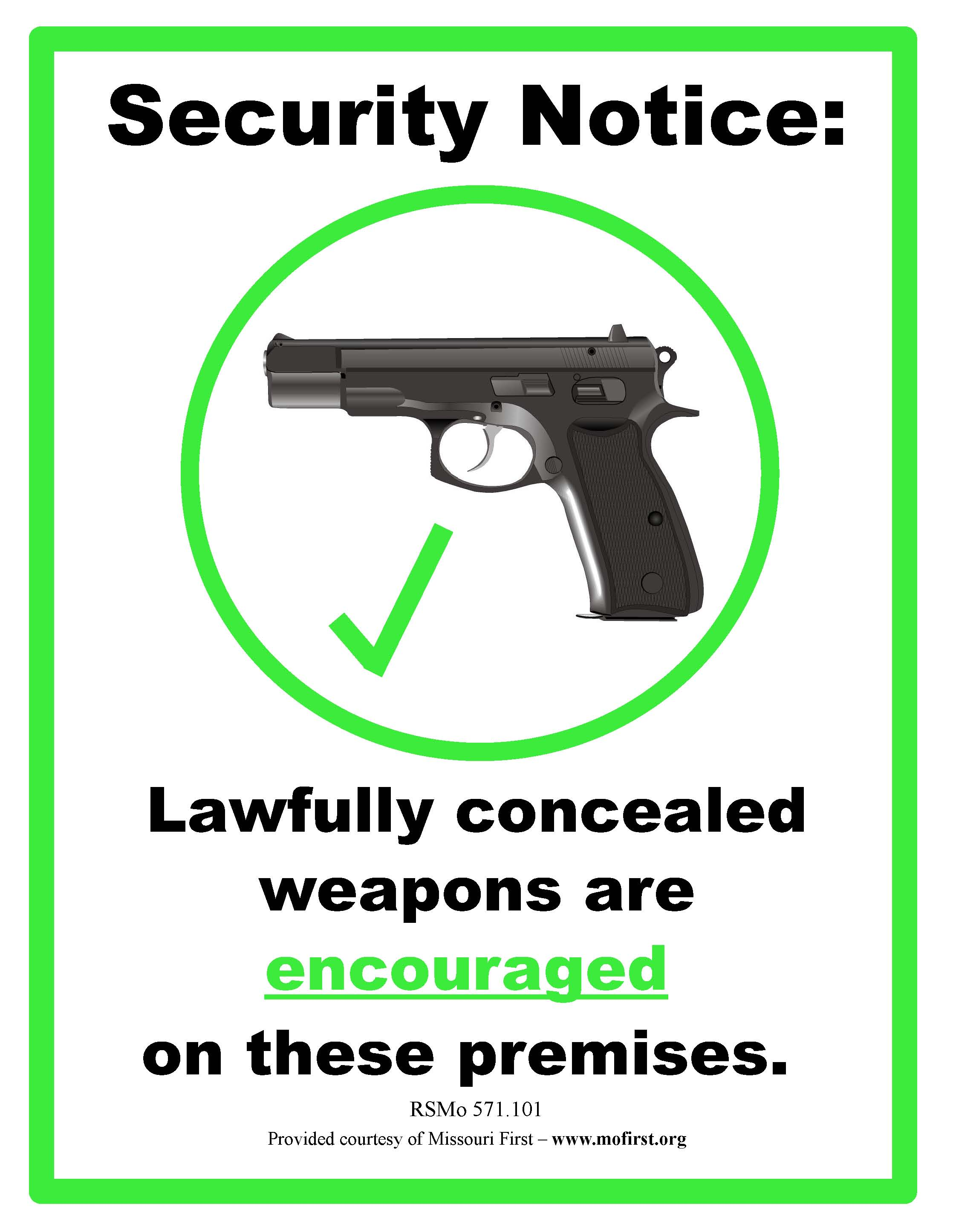 Concealed Weapon Sign